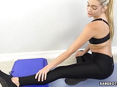 Solo Exercise Routine With Bare Platinum-blonde, Kenna James, In 4k