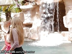 Lena Paul Tribbing with Seductive MILF by the Pool