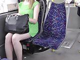 Uskirt Blonde in Green Dress and Black Thong