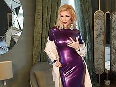 Blonde Latex Girl wears long elegant dress