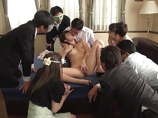 Asian Japanese video: JAV Miki Sunohara blowjob and rimjob while audience watches