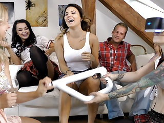 Maid College Upskirt video: Shortest School Girl Skirts Ever Twister Teens Party at Home