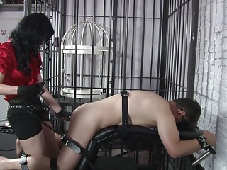 German Stockings Bdsm video: Lady Blackdiamoond - The victim gets fucked.