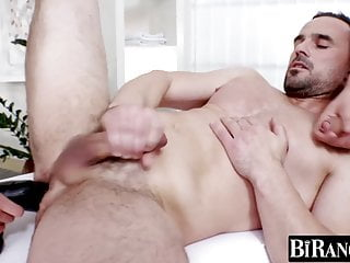 Bi dude fucked by hung homo and ass toyed by pretty chick