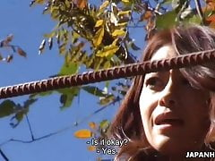 Japanese Farmer Girl, Maki Hojo Is Mildly Masturbating Outdo