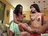 Attractive teen and her stepmom love to share a dick