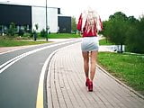 HOT russian teen walking in short skirt, red heels and nylon