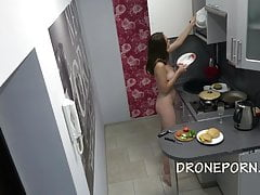 Czech nudist in the kitchen
