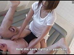 Femdom japonesa Strapon Pegging y doble puño anal