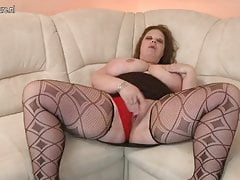 BIG Mature MOM with HUGE tits and big toy