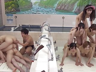 Asian Japanese Funny video: JAV time stop naked pyramid of women in bathhouse Subtitles