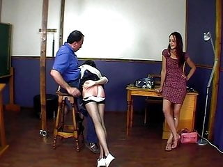 Spanking Slave Humiliation video: CMNF - 2 girls spanked, stripped and humiliated