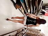 Hot asian milf tight white shorts