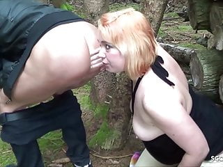 Outdoor Milf Redhead video: German Female Teacher Fuck Student in Forest and eat Sperm