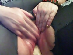 cumster fucks her cunt with a massive cock