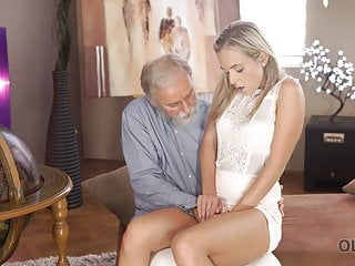 Blonde Blowjob Mature video: OLD4K. Kind grey-haired teacher makes sweet love to tender