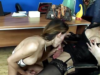 Huge cock shemale fucks another