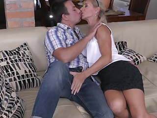 Milfs Amateur Oldyoung video: Beautiful mature MILF fucks lucky son