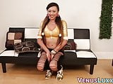 Gorgeous Asian ladyboy shows off her tits and wanks off