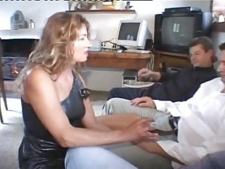 Italian Double Penetration Blowjob video: Aged Italian Mature Sucks and Assfucks 3 Cocks