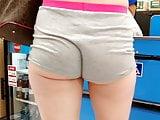 Legs and butt cheeks short shorts voyeur