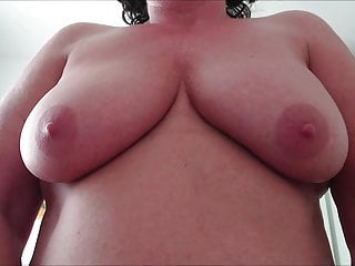 Maggie 13 presents + plays with her saggy tits while riding