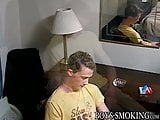 Skinny cigar smoker plays with his hairy cock and cums