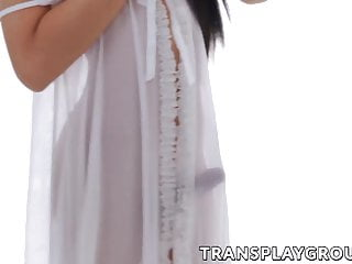 Hd Videos Ladyboy Shemale Small Tits Shemale video: Asian ladyboy working her rock hard cock and cumming