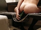 chastity cage cb6000s riding a cucumber
