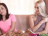 Cadence Lux tempts her babysitter into sharing a dildo