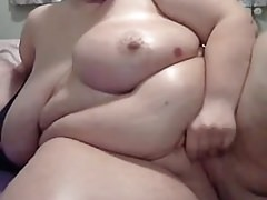 A Totally Enormous Mature BBW Oils Herself Up, Masturbates A