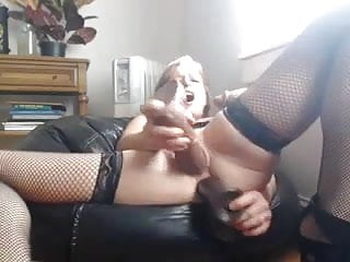 Amateur Lingerie Double Penetration video: Triple dildo action bitch