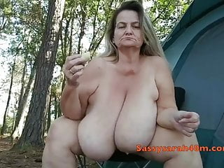 Matures Big Boobs video: Big saggy tits woman with a banana