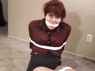 Brunettes Pantyhose Bondage video: Mature MILF bound and gagged