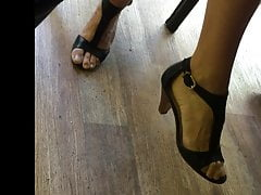 Candid Soles And High-heeled Slippers At Work #9