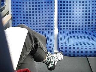 Softcore Foot Fetish Hidden Camera video: Nice socks on train 3