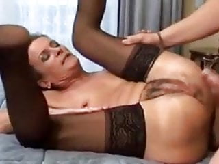 Hairy Hardcore Stockings video: Hairy Mature Granny Gets Both Holes Drilled - Rrreaperrr