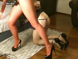 Fucking and spanking her slave
