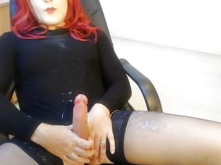 crossdresser lube play causing cum explosion (messy)HD Sex Videos