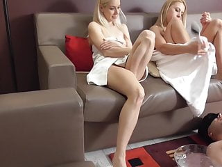 2 blondes dominate their pedicure slave