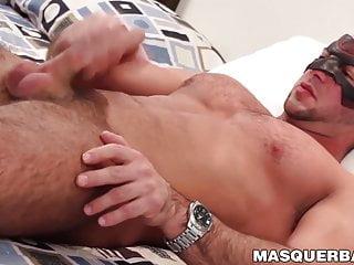 Young man with beard masturbating before cumming hard