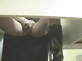 Hidden cam under desk caught my girlfriend masturbating