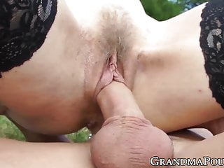 blowjob GILF outdoor stockings doggystyled in after