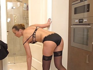 Mom fucks her ass and pussy in shower
