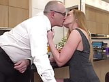 Lucky daddy gets wet mature pussy on kitchen