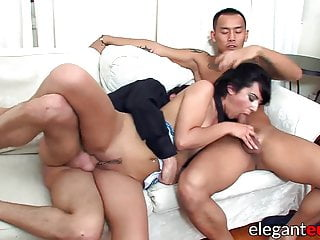 Eurobabe maid boobs fucks in interracial threesome...