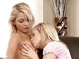 Gorgeous blondes Bellina and Anneli have hot lesbian fun on