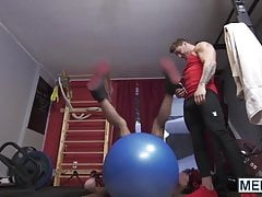 Personal trainer ass fucks a cute jock after hard training