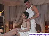 Oiled babe rubs pussy while fucked by masseur
