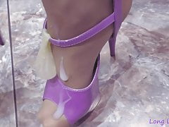 Purple shoes and cum